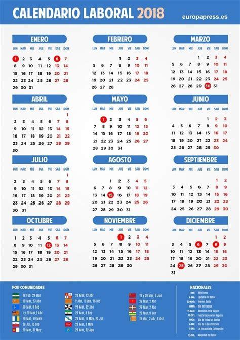 Calendario 2018 Republica Dominicana Calendario Laboral 2018 Semana Santa Puentes Y D 237 As Festivos