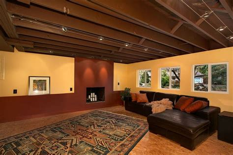 Basement Ceiling Lighting Ideas Unfinished Basement Ideas And Unfinished Ceiling In Basement With Expensive Track