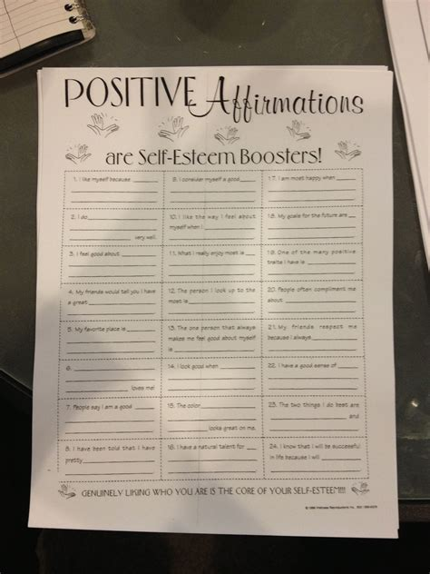 Fashion As Self Esteem Booster by Positive Affirmations Worksheet Use A Wooden Box