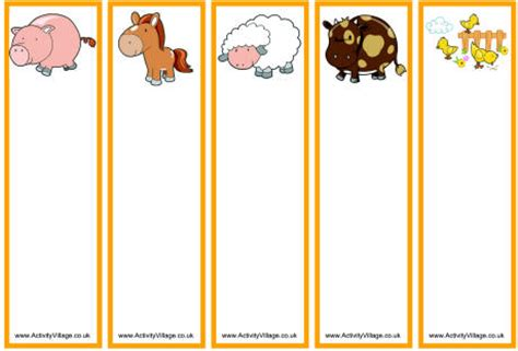 printable animal bookmarks farm animal bookmarks blank 2 pages farm printables