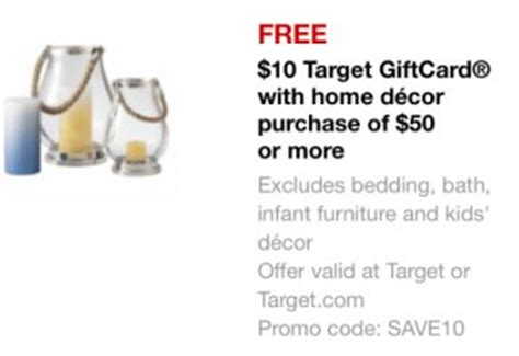 target home decor coupon new target 10 gift card when you buy 50 in home decor