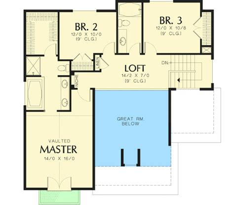 skylofts one bedroom loft 2 story suite standard craftsman with two story great room 69035am 2nd floor
