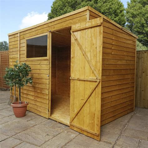 overlap wooden shed window single door pent roof felt
