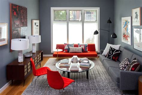 y room living room and bedroom design in retro style of a two room apartment