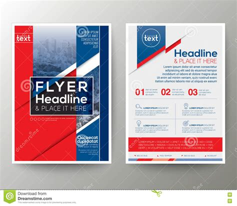 Red And Blue Poster Brochure Flyer Design Layout Vector Template Stock Vector Illustration Blue Flyer Template