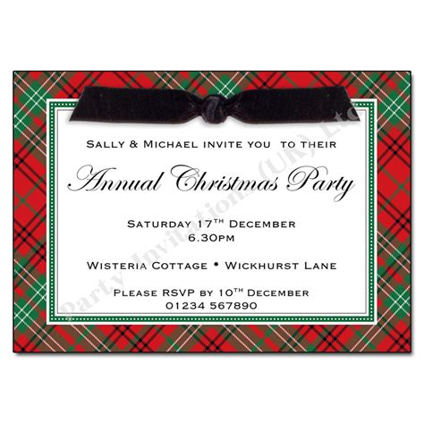 red tartan christmas party invitation christmas invitations