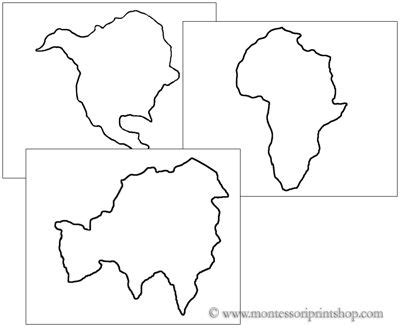 continents cutting and pin poking shapes printable