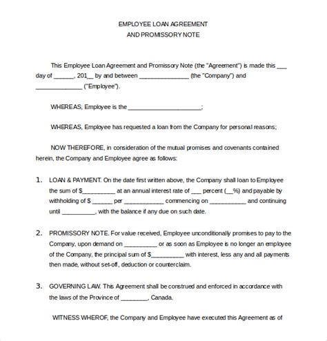 employee loan agreement template loan application templates 7 free sle exle