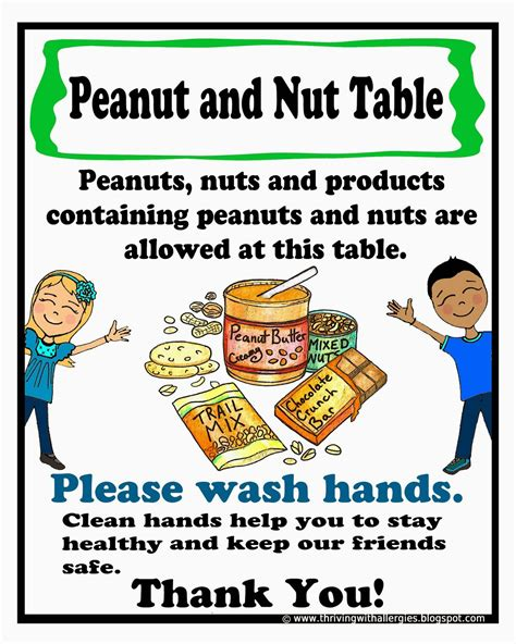 printable allergy alert poster thriving with allergies peanut tree nut free classroom