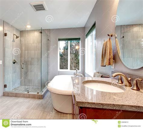 Beautiful Grey New Modern Bathroom Interior. Stock