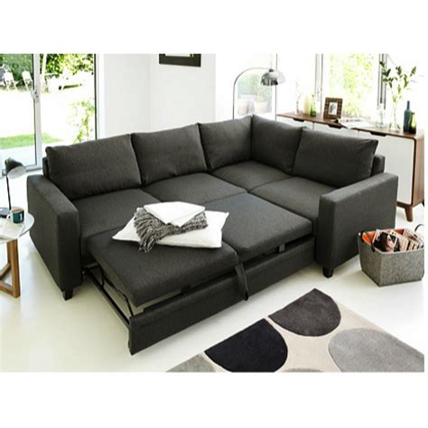 Corner Sofas Beds Hygena Seattle Right Corner Sofa Bed Charcoal At Furnico
