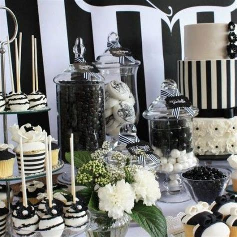 56 elegant black and white wedding dessert tables black