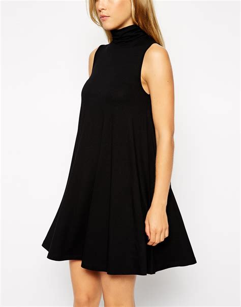 sleeveless swing dress asos sleeveless swing dress with polo neck in black lyst