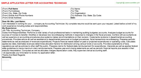 application letter for accounting technology free downloads accounting technician career docs