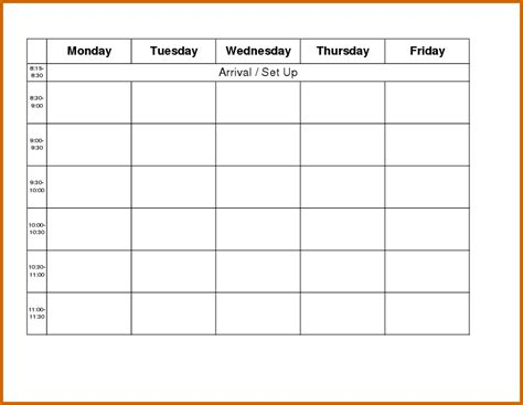 monday through friday calendar template 10 weekly planner template monday to friday lease template