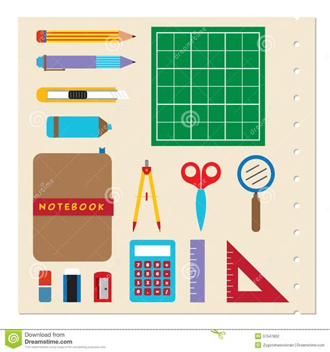 school supplies illustration inspiration pinterest school stationery supplies stock vector image 37547802