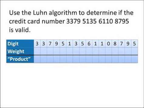 Luhn Formula Credit Card Luhn