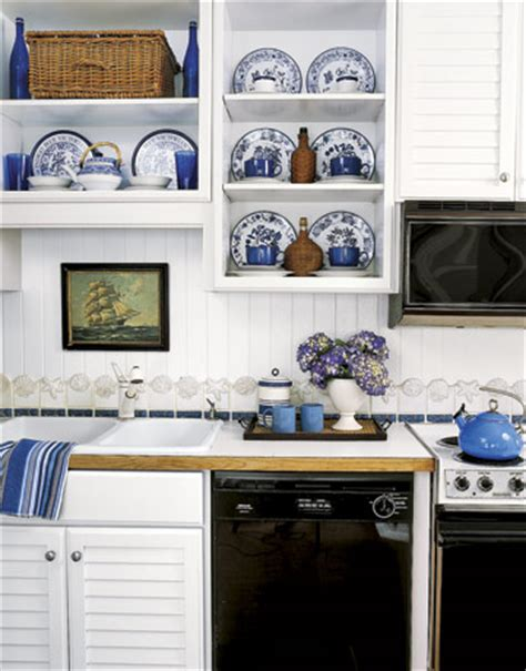 white and blue kitchen decor 50s blue and white