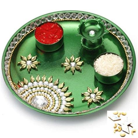 pooja online shopping green pooja thali with 1000 gms kaju katli online