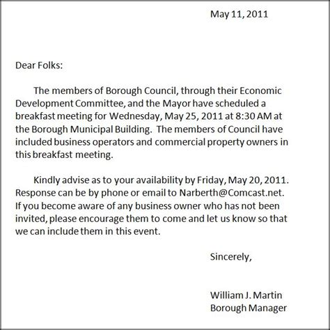 Invitation Letter For Breakfast Meeting breakfast meeting with economic development committee