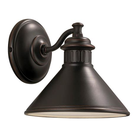 Outdoor Porch Light Fixtures Shop Portfolio Dovray 7 75 In H Rubbed Bronze Sky Outdoor Wall Light At Lowes