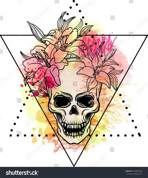 old school tattoo watercolor trash skull blood splatter lily flowers stock vector