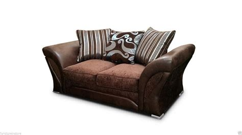 Brown Leather And Fabric Sofa Brand New Shannon Brown Leather Fabric Sofa Suite 3 2 Seater Ebay