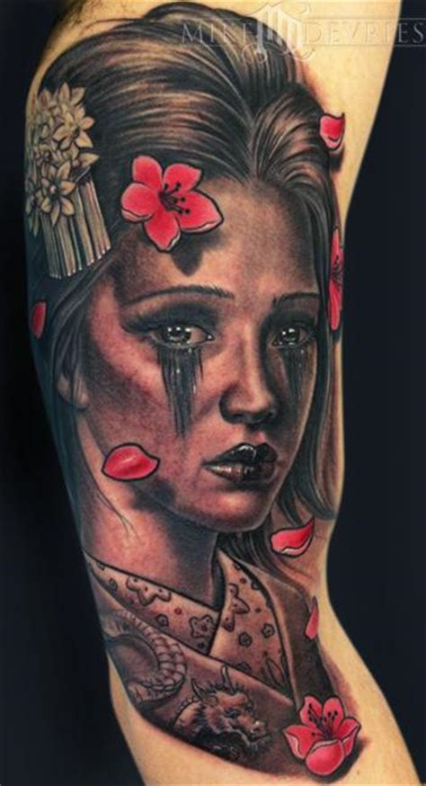 japanese geisha tattoo geisha by mike devries tattoos