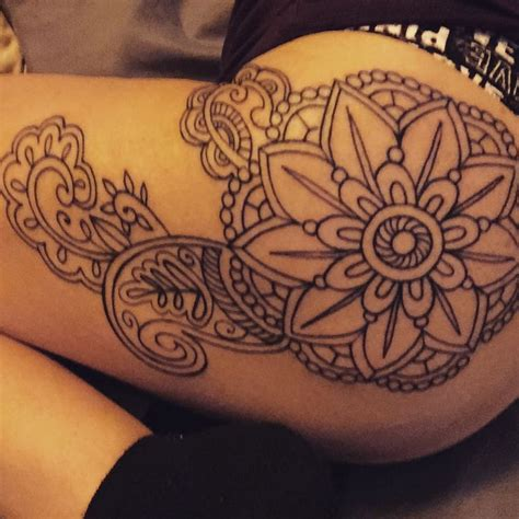 mandala tattoo on hip mandala tattoo hip thigh tattoo line work black ink