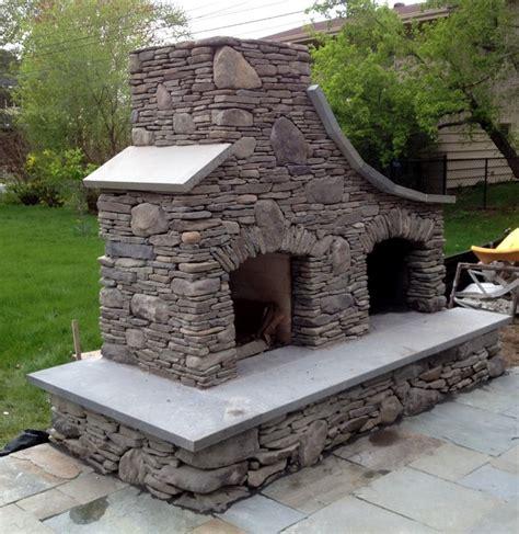 Fieldstone Fireplace bluestone and maple creek flat stone outdoor fireplace in