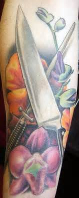 chef s knife and flowers tattoo flickr photo sharing