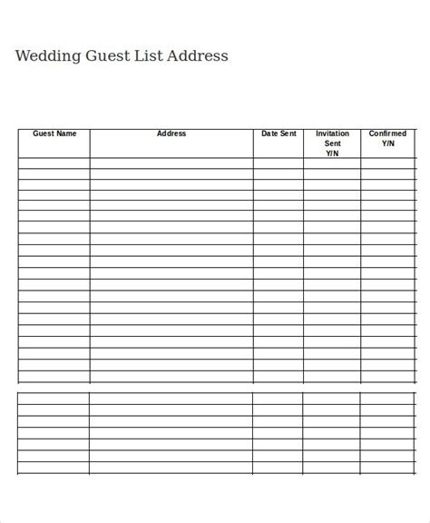 Wedding Guest Checklist Template by Printable Wedding Guest List Freepsychiclovereadings