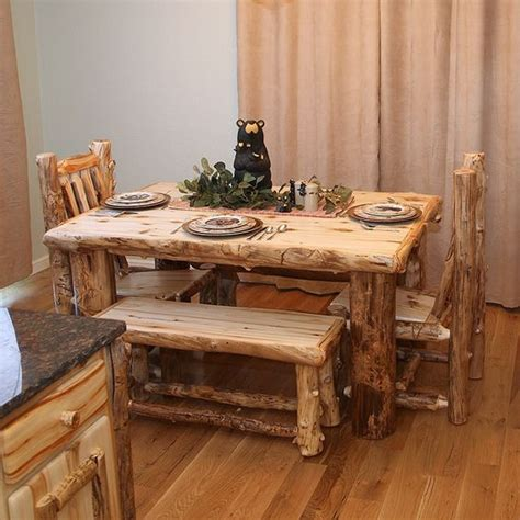 How To Make Log Furniture by Log Dining Table Rugged Materials Make Lodge Decor
