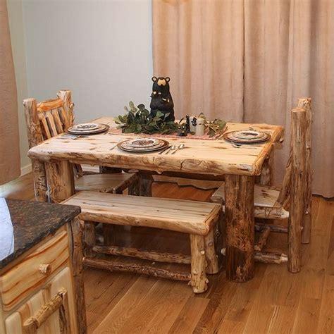 log dining table rugged materials make lodge decor