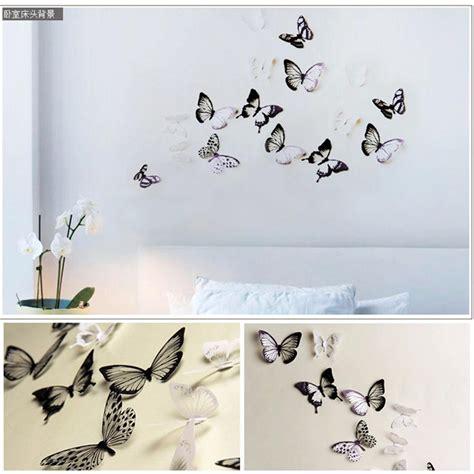 3d butterflies wall sticker living room bedroom background 18pcs lot creative 3d ᗔ butterfly butterfly stickers pvc