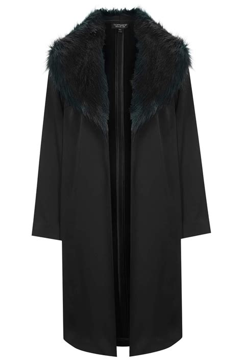 Topshop Faux Fur Collar Coat in Black   Lyst