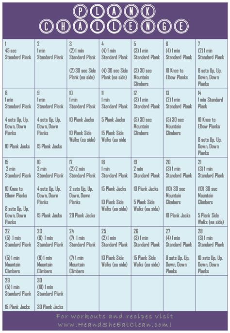 30 day plank challenge calendar 30 day plank challenge he she eat clean healthy