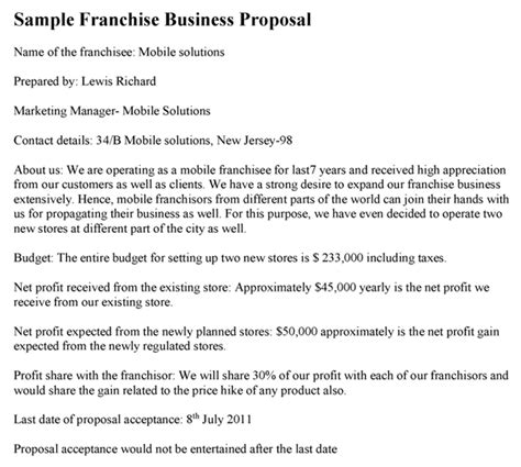 franchise business plan template franchise business template