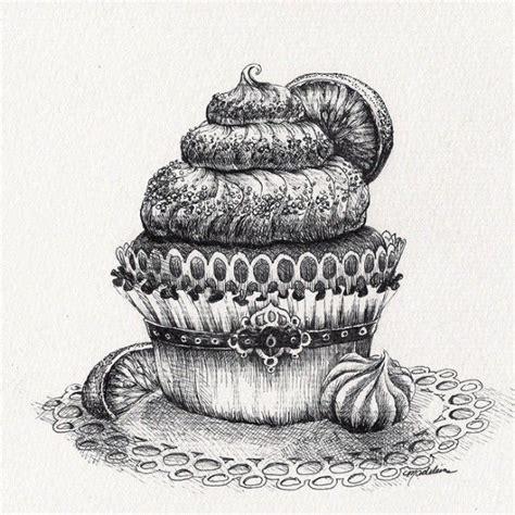 Food Drawing Pen Pencil Makanan Harga cupcake drawing original pen and ink artwork by