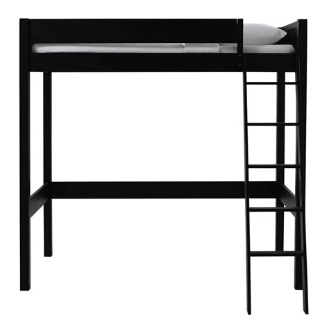 Black wooden loft bed 90 x 190 cm Newport   Maisons du Monde