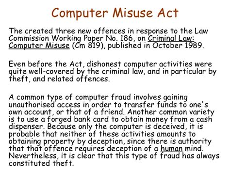 how many sections are on the act computer misuse