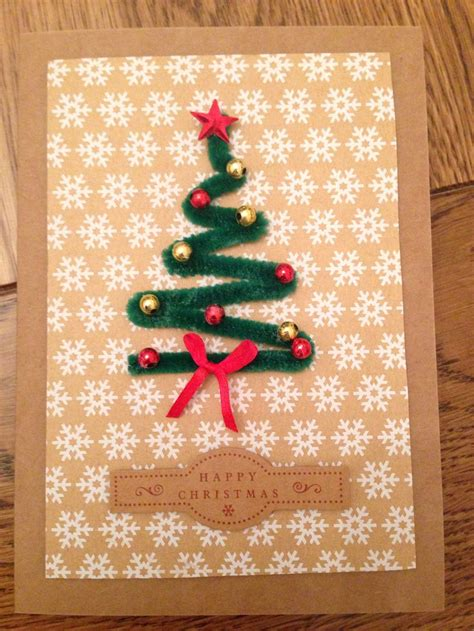 homemade christmas card  pipe cleaner christmas tree card making pinterest trees