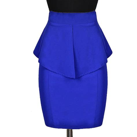 plus size royal blue peplum pencil skirt elizabeth s