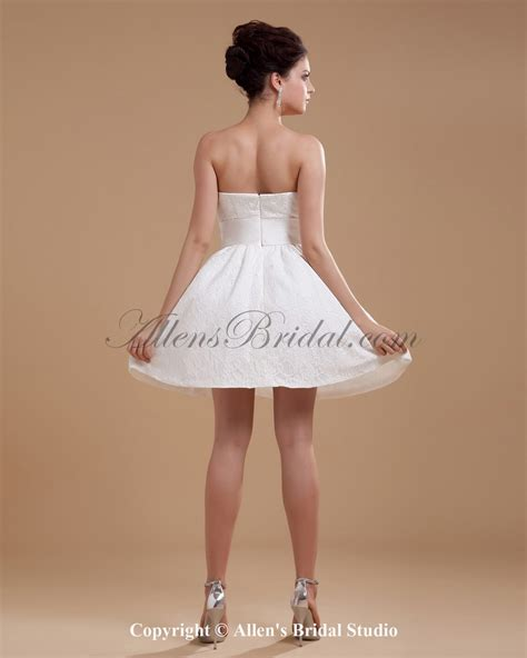 allens bridal strapless short a line wedding dress