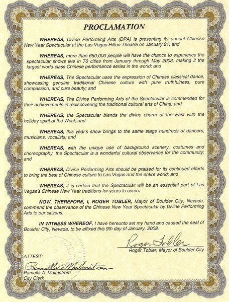 new year proclamation boulder city nevada honors the new year