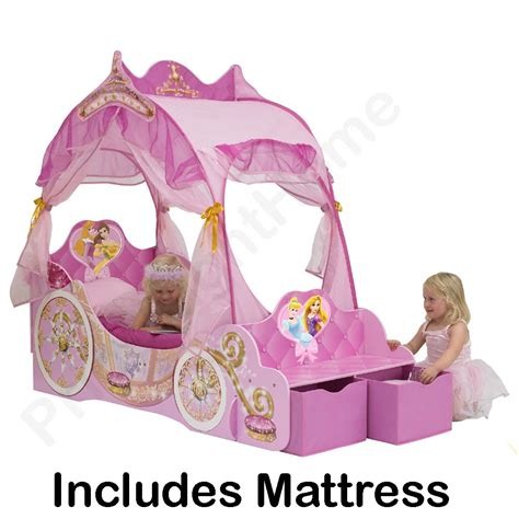 Princess Toddler Bed With Canopy Disney Princess Carriage Toddler Bed Deluxe Mattress Free P P Ebay