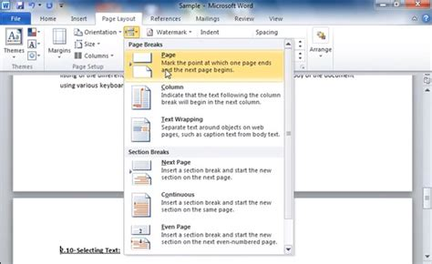 how to add section breaks and page breaks in microsoft
