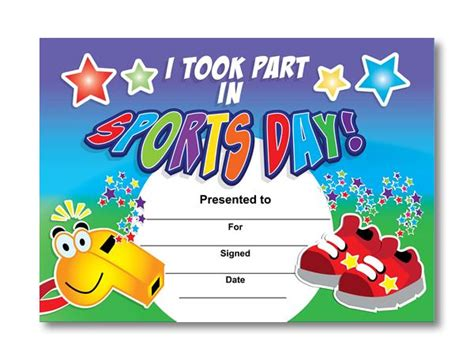sports day certificate templates free certificate i took part in sports day trainers whistle