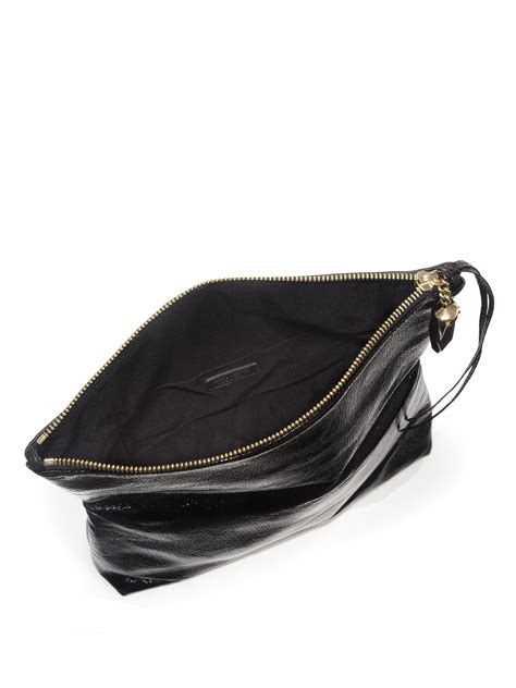 Jimmy Choo Mave Liquid Patent Clutch by Lyst Jimmy Choo Penelope Studded Matte Patent Leather