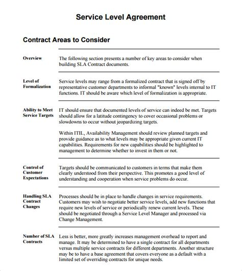 standard service contract template service level agreement 8 free sles exles format